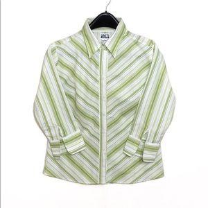 Green Striped Button-Up Shirt